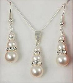 Free Gift Box With Bridemaid Gift Fresh Water Shall Pearl Necklace Earring Set