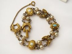 Goldette Signed Victorian Revival Link Charm and by ERAtiqueJewels, $32.00