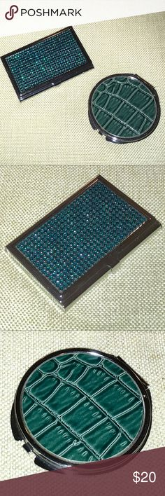 """BWT 2 Piece Set Teal Business Card Holder & Mirror 2 Piece Set Teal Rhinestone Business Card Holder & Dual Sided Compact Mirror  Both brand new w tags. Set comes w/ 1 card holder & 1 dual sided compact/pocket mirror. Backs have clear removable seal for protection during shipment  •Card holder, silver tone metal w/a teal rhinestone-studded surface. Snaps closed, keeps business cards safe approx 3.69"""" x 2.31"""" depth .32"""" •Dual sided mirror, silver tone metal, teal faux-leather alligator-skin…"""