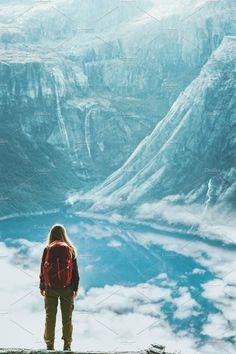 Traveler woman wander landscape by e v e r s t on @creativemarket
