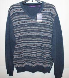 Alan Flusser Mens Slate Blue Fair Isles Cotton V-Neck Sweater NEW $90 L