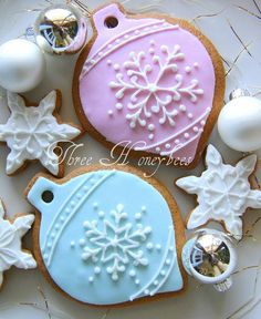 Ornament cookies with snowflake decoration.