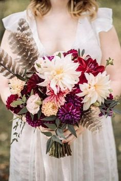 Fall Wedding Bouquets For Autumn Brides ★ fall wedding bouquets with dahlias and feathers small with greenery threetoadsfarm Fall Wedding Bouquets, Fall Wedding Flowers, Autumn Wedding, Wedding Day, Bridal Bouquets, Autumn Inspiration, Wedding Inspiration, Autumn Bride, Autumn Fall