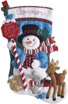 Felt Applique Christmas Stockings and Ornaments - 123Stitch.com