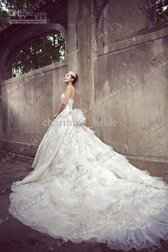 Wholesale A-Line Wedding Dresses - Buy New Luxury Swarovski Crystal Sweetheart A Line Lace Applique Cathedral Wedding Dresses Bridal Gown, $318.18 | DHgate