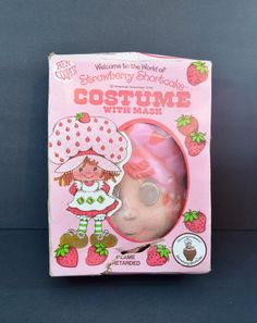 Strawberry Shortcake Halloween Costume Mask Pink Red White Child's Size 12-14…