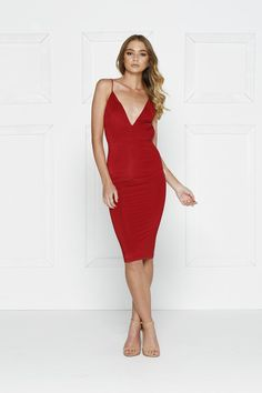Alamour The Label YSABEL Wine Red Sexy Low Back Cocktail Dress