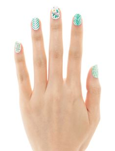 Paint Strokes with Gold graphic nail wraps manicure in bright spring colours // Museum Nails Get Nails, Love Nails, How To Do Nails, Pretty Nails, Hair And Nails, Black White Nails, Blue Nail, Striped Nails, Nailart
