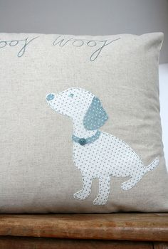 Appliqued cushion by Naught.y Dog on Etsy Cushions To Make, Dog Cushions, Scatter Cushions, Diy Pillows, Handmade Cushions, Applique Designs, Quilting Designs, Sewing Crafts, Sewing Projects