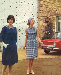 Vintage Dresses 1964 blue houndstooth dress and coat 1960s Dresses, 1960s Outfits, Vintage Dresses, Vintage Outfits, Vintage Clothing, 60s And 70s Fashion, Look Fashion, Retro Fashion, Vintage Fashion