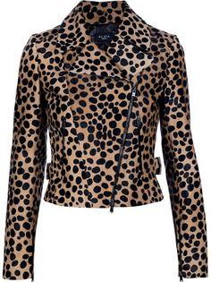 Brown leather leopard jacket from AZZEDINE ALAÏA