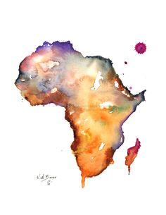 Africa Map- Watercolor Map Decor - Print of watercolor painting Watercolor Map, Watercolor Illustration, Watercolor Paintings, Watercolors, Africa Drawing, Map Painting, Africa Painting, Map Artwork, Africa Map