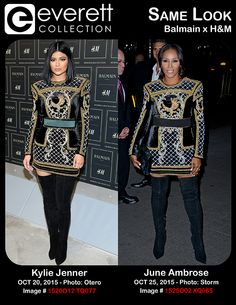 Kylie Jenner (wearing a Balmain x H&M dress) at arrivals for Balmain X H&M Collection Launch, The Corner at 23 Wall Street, New York, NY October 20, 2015. Photo By: Andres Otero/Everett Collection *** June Ambrose (wearing Balmain x H&M) at arrivals for MISS YOU ALREADY Premiere, Museum of Modern Art (MoMA), New York, NY October 25, 2015. Photo By: Derek Storm/Everett Collection