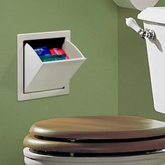 Easily installs in a wall to hold personal hygiene products in plain sight. This discreet storage container installs easily into a wall next to the commode so you can keep personal items handy – rather than several steps away under a sink.....CLEVER