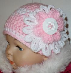 Baby crochet beanie hat in PINK with white button Crochet Beanie Hat, Crocheted Hats, Beanie Hats, Crochet Granny, Crochet Baby, Pink Beanies, Baby Hats, Baby Items, Headbands