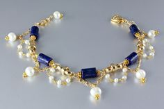 "Image of ""Midnight Moon"" - Lapis Lazuli and Pearl Gold Bracelets"