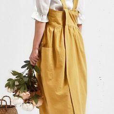 Cross Back Cotton Apron - Long Apron Dress with relaxed fit, no tie – Shop Her Favorites Baking Apron, Linen Apron, Apron Pockets, Professional Chef, Apron Dress, Linen Dresses, That Way, Feminine