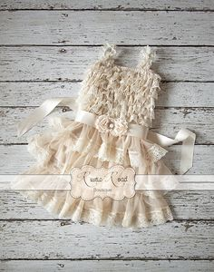 Rustic Flower Girl Dress Country Girl Dress by RusticRoadBoutique