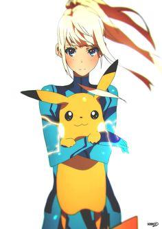 Zero Suit Samus and Pikachu by on DeviantArt Super Smash Bros Brawl, Mega Pokemon, Pokemon Fan, Fanart Pokemon, Pokemon Fusion, Nintendo Characters, Video Game Characters, Metroid Samus, Metroid Prime