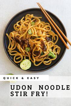 This better than take out udon noodle stir fry is packed with mushrooms, broccoli, and a sweet and savory soy and sesame sauce. No need to order in when you've got this recipe in your back pocket! Vegetarian Stir Fry, Vegetarian Recipes, Vegetarian Dinners, Vegan Meals, Healthy Meals, Healthy Recipes, Fried Udon, Kimchi Fried Rice