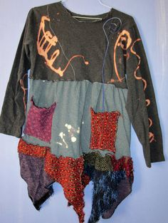 Funky Upcycled Tunic Dress Gray Grey by monapaints on Etsy, $169.75