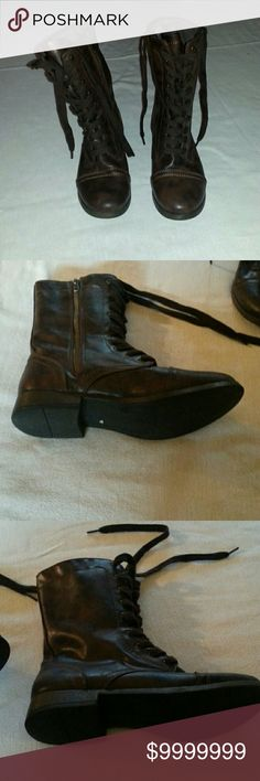 SALENWOT MOSSIMO SUPPLY BROWN COMBAT BOOTS NWOT MOSSIMO SUPPLY Super cute brown combat boots lace front with side zip for easy on and off. Mossimo Supply Co Shoes Combat & Moto Boots