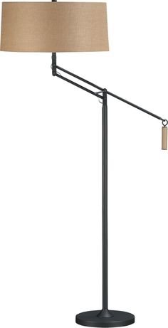 "Autry Floor Lamp. 20.75"" dia. x 57""H Steel baseAntiqued dark bronze finishLinen-cotton shadeTwo 60W max. sockets  The advantages of this lamp is 1) it has two lightbulbs to double the output and 2) it can hang over the sofa a bit for reading  $349"