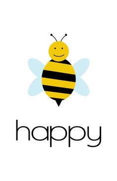 Bee Happy Poster by LilyGramDesigns on Etsy, $10.00
