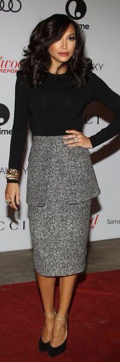 Naya Rivera: Shirt and skirt – Michael Kors  Shoes – Casadei  Purse – Ferragamo  Jewelry Marina B