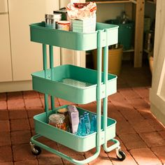 IKEA's retro Raskog cart with wheels is small enough to tuck into a pantry and looks good enough to leave out.