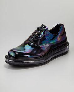Prada Oil Slick Iridescent Lace-Up Shoe on shopstyle.com