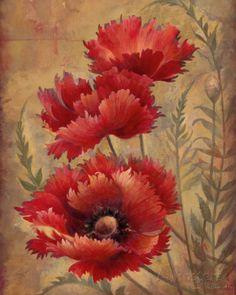 Poppy Passion II Kunst van Elaine Vollherbst-Lane bij AllPosters.nl