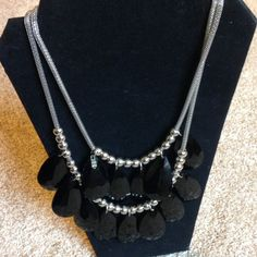 Black and Silver Chunky Statement Necklace Oversized black and silver necklace. Lightweight. Jewelry Necklaces