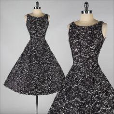 vintage 1950s dress . black white . jeweled by millstreetvintage, $225.00