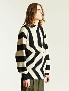 Issey Miyake Men's Geometric Knit Sweater