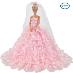 This Barbie doll clothes includes a lace gown and a veil, perfectly fits for Barbie Dolls and other dolls of the similar size. Fit Barbie Doll Size: Bust; 12 CM Waist:8 CM Buttocks:12.5 CM High:29 CM
