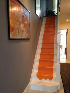 Charlotte's Locks Orange Paint Color On Stairs By Farrow & Ball on Amazing Stairs Ideas 8584 Farrow Ball, Grey Hall, Hall Colour, Orange Paint Colors, Hallway Inspiration, Hallway Ideas, Staircase Ideas, Orange Carpet, Grey Carpet