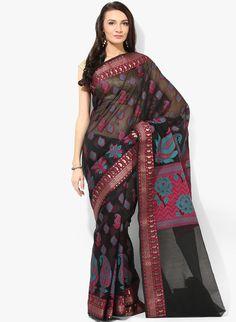 Buy Bunkar Black Embellished Saree for Women Online India, Best Prices, Reviews   BU651WA13ZOCINDFAS
