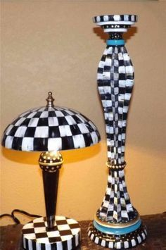 Mackenzie Childs Napkin & Hand Painted Desk Bedside Table Lamp Courtly Check | eBay