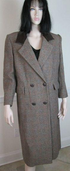 Bert Newman Petite Brown Plaid Wool Coat Leather Collar Jacket Size 6 #BertNewman #BasicCoat
