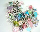 Pastel cha cha bracelet, chunky pearl charm bracelet, statement bracelet... BOUQUET
