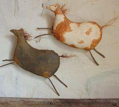 folk art pillows - primitive cave art horses - I LOVE these guys!