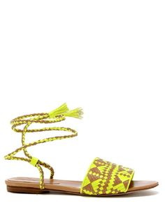 Rebecca Minkoff-Baha sandal - USD$165 Coming soon- a strappy woven sandal decked out with a friendship bracelet inspired double-wrap ankle strap and Southwestern theme woven pattern in contrasting acid bright neon yellow and natural leather.    Available for pre-order. Your sandals will be ready to ship by March 5th.  Natural Vacchetta leather/Neon Yellow PU Vacchetta  Natural stacked leather 7mm heel