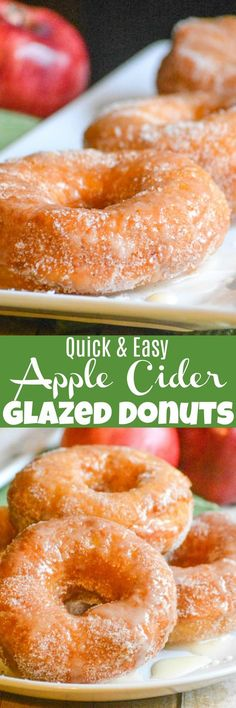 Homemade donuts have never been easier than with these Quick & Easy Apple Cider Glazed Donuts. Tossed in a cinnamon sugar coating and drizzled with a warm apple cider glaze each bite is melt in your mouth perfection. They're the perfect way to celebrate one of your favorite Fall fruits. #AppleWeek
