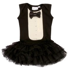 Bunnies Picnic - Ooh La La Couture Tuxedo Dress in Black for Babies - Boutique Clothing for Girls and Boys