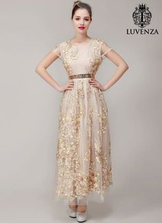 Champagne Organza Lace Floral Embroidered Maxi Length Evening Dress/ Champagne Embroidered Lace Prom Dress with Rhinestone Embellishment Prom Dresses Two Piece, Prom Dresses For Teens, Elegant Prom Dresses, Mob Dresses, Evening Dresses, Bride Dresses, Tulle Lace, Lace Dress, Champagne Evening Gown