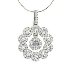 Round SI Diamond Nature Necklace in 14k White Gold with VS Diamond