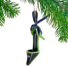 Seattle Seahawks Team High Heel Shoe Ornament