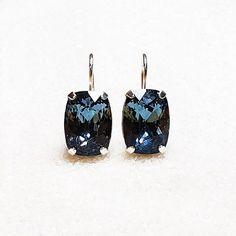 Blue Swarovski Crystal Drop Earrings   Denim Blue   Leanne   Bidiliia Swarovski Crystal Rings, Crystal Drop, Blue Earrings, Drop Earrings, Evening Outfits, Grace Kelly, Ring Necklace, Work Fashion, Unique Colors
