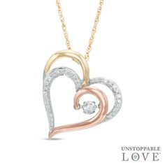 Zales 1/6 CT. T.w. Diamond Tilted Curlique Heart Pendant in 10K White Gold et4I6J